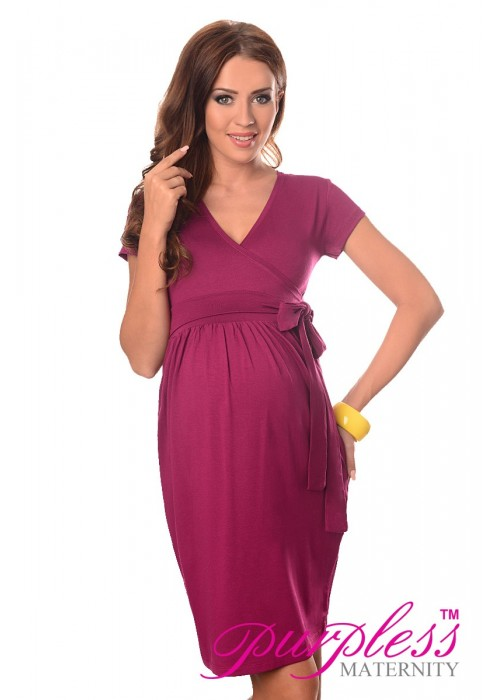 Maternity Cocktail Dress-Berry